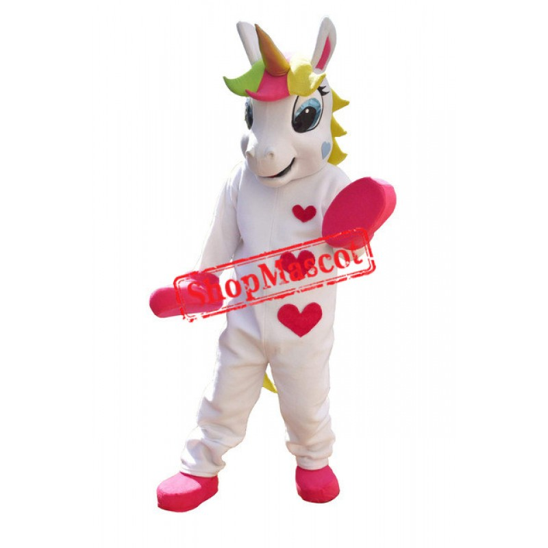 Unicorn Mascot Costume Animal PONY Mascot Costume Cute Heart Printed Parade Clowns Birthdays For Adult
