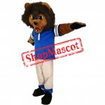 Sport Lion Mascot Costume with Blue Shirt