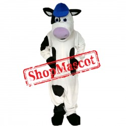 Sport Cow Mascot Costume with Blue Hat