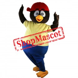 Cartoon Penguin Mascot Costume with Red Hat