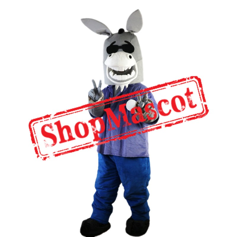 Cartoon Donkey Mascot Costume with Black Glasses