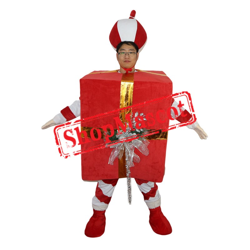 High Quality Red Christmas Gift Mascot Costume