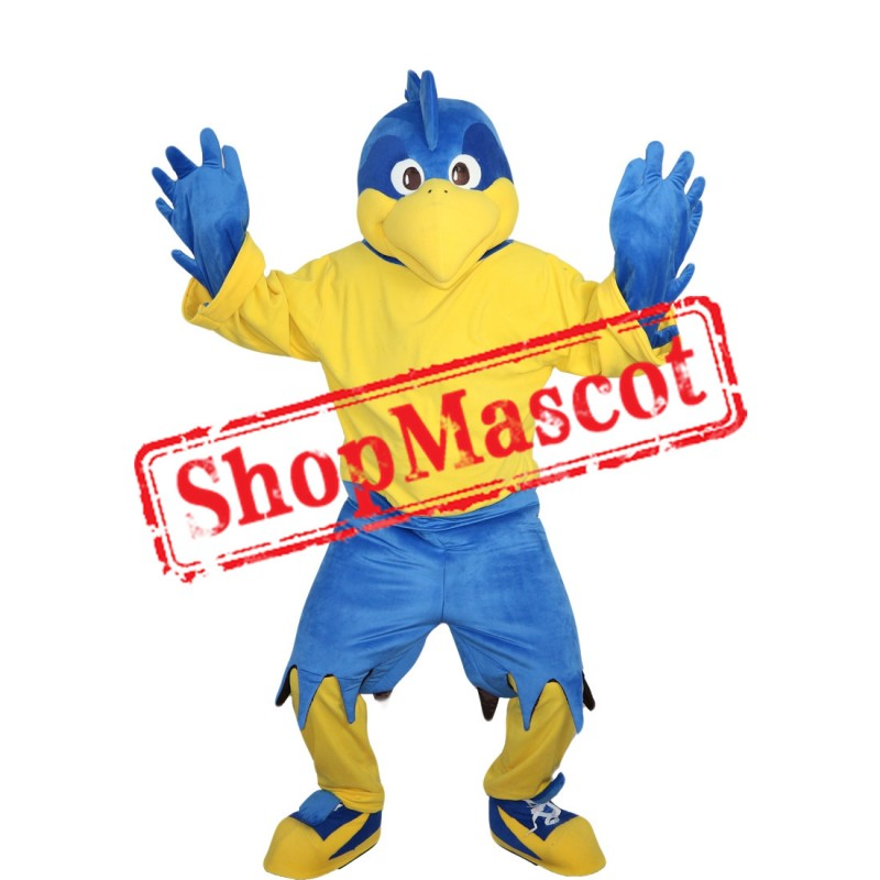 High Quality Blue Eagle With Yellow T-shirt Mascot Costume
