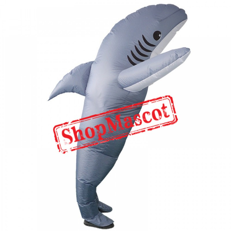 Inflatable Grey Shark Costume Blow Up Shark Costumes Halloween Funny Suit For Adult