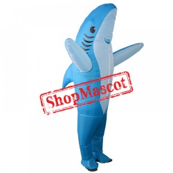 Inflatable Blue Shark Costume Blow Up Shark Costumes Halloween Funny Suit For Adult