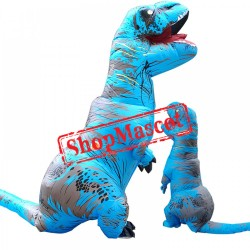 Inflatable Blow Up T Rex Dinosaur Costumes Funny Suit For Adults & Kids Blue