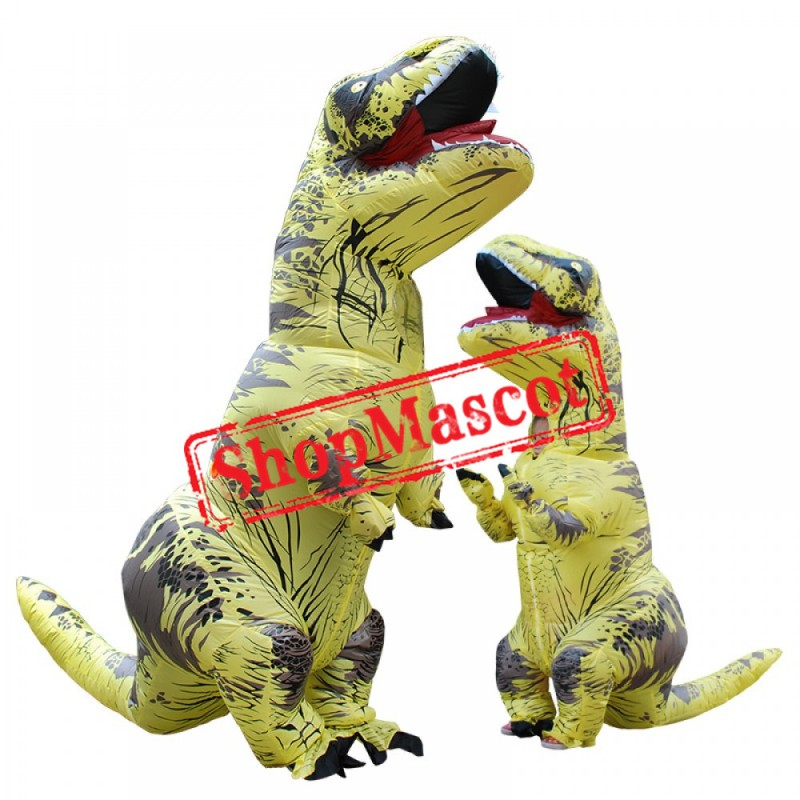 Inflatable Blow Up T Rex Dinosaur Costume Suit Adults & Kids Yellow