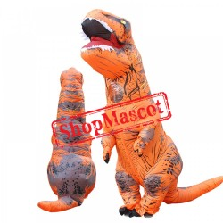 Inflatable Blow Up T Rex Dinosaur Costume Suit Adults & Kids Orange