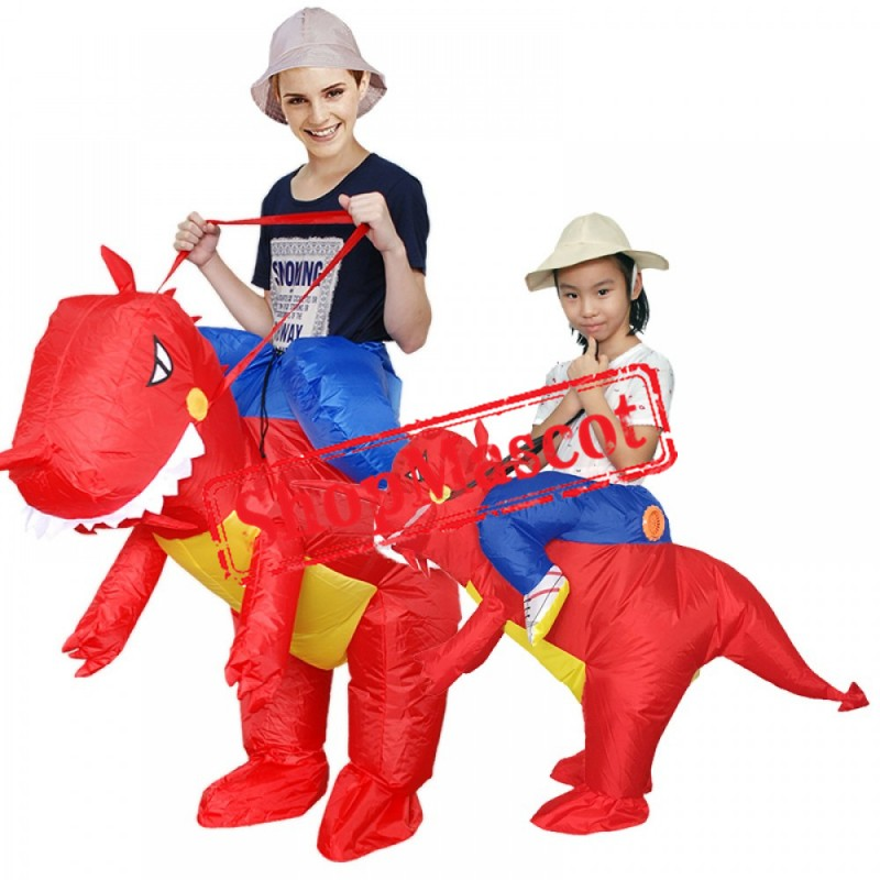 Inflatable Adult & Kids Blow Up T Rex Dinosaur Halloween Costumes Suit