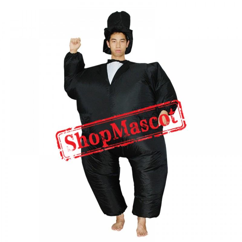 Inflatable Costume Blow Up Gentleman Dress Costumes Halloween Funny Suit