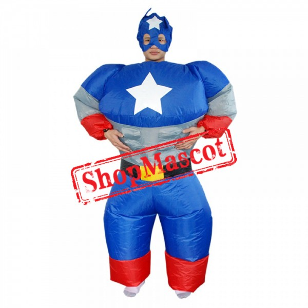 Captain America Inflatable Costume Blow Up Costume Halloween Fun Suit