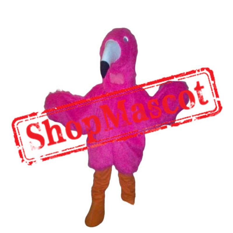 Pink Furry Flamingo Mascot Costume