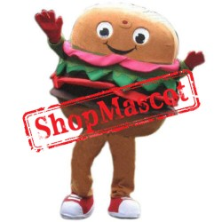 Happy Adult Hamburger Mascot Costume