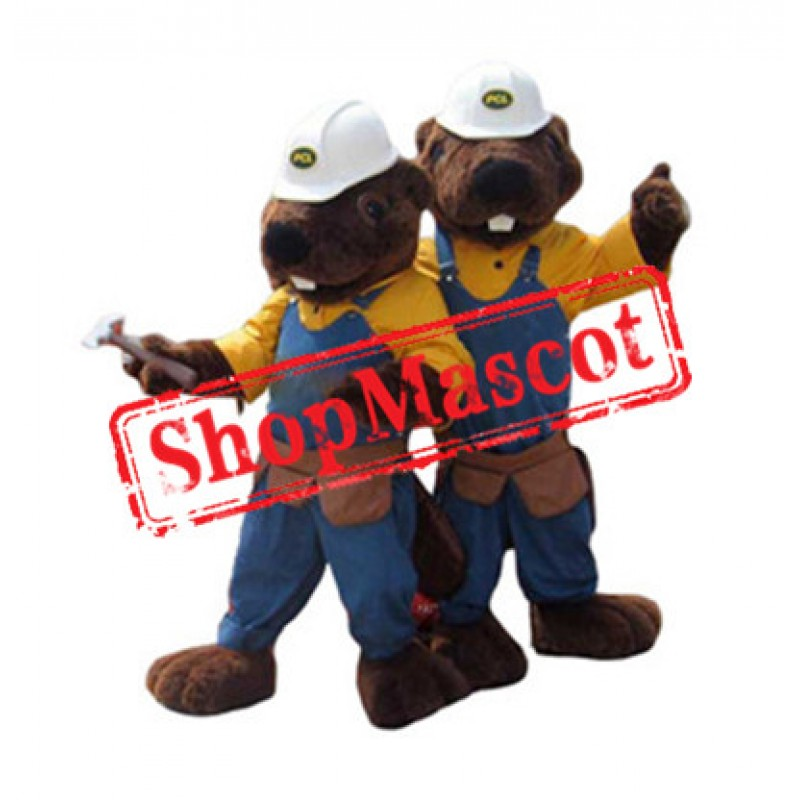 High Quality Worker Beaver Mascot Costume