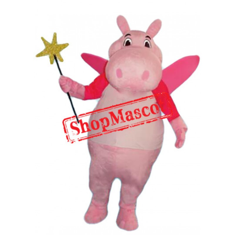 Super Cute Pink Hippo Mascot Costume