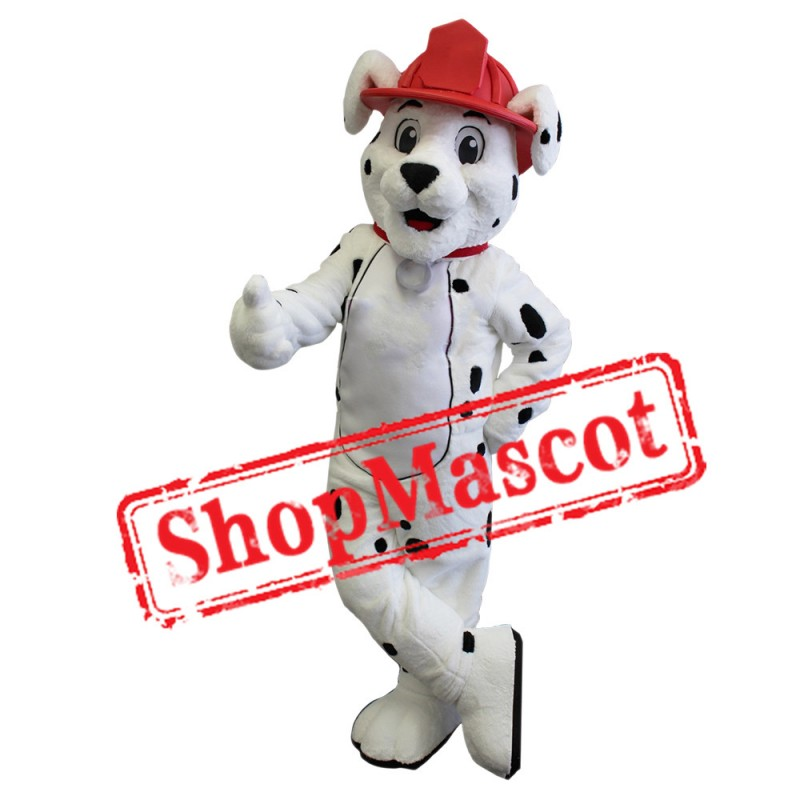 Super Cute White Fire Dog Mascot Costume