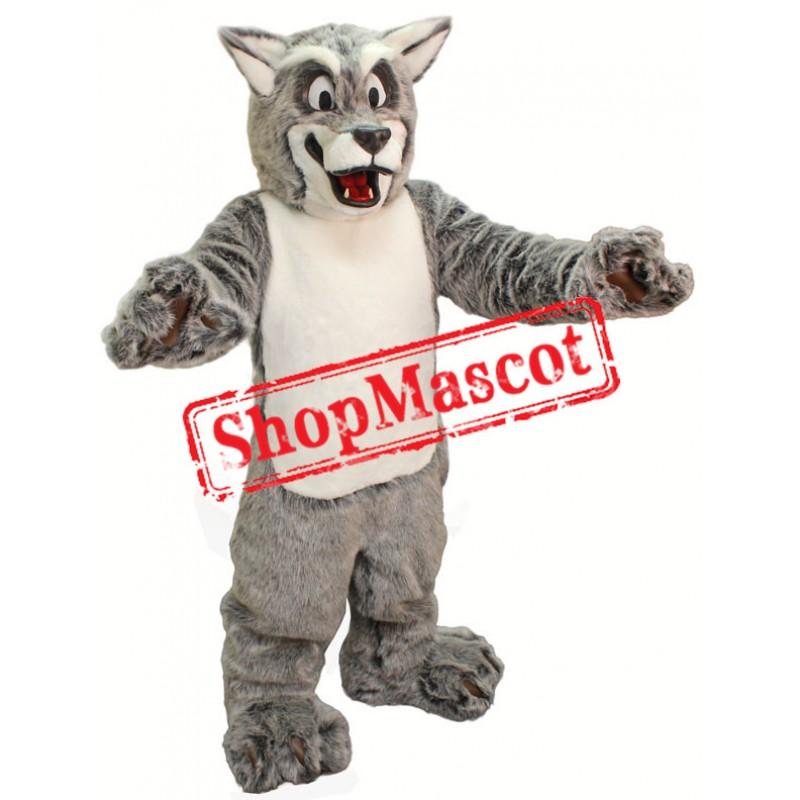 Friendly Grey Wolf Mascot Costume Free Shipping