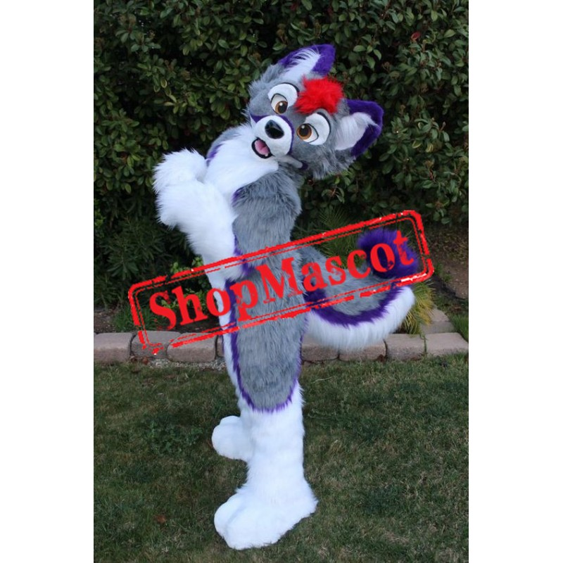 Purple & Grey Husky Dog Mascot Costume