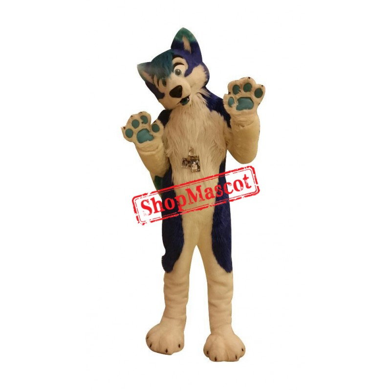 Bule & White Husky Dog Mascot Costume