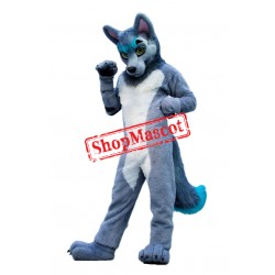 Grey & White Wolf Mascot Costume Free Shipping