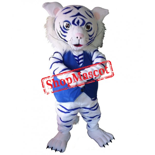 White And Blue Tiger Mascot Costume