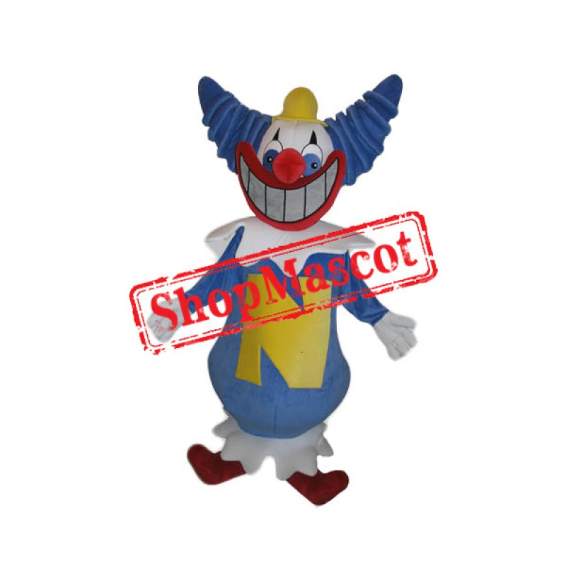 Happy Blue Clown Mascot Costume