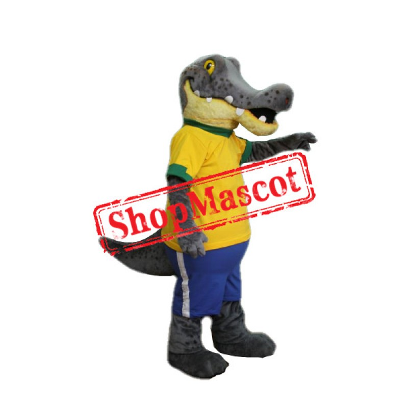 Gray & Yellow Crocodile Mascot Costume