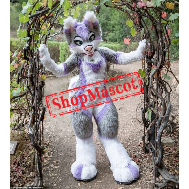 Beautiful Purple & Grey Husky Dog Mascot Costume