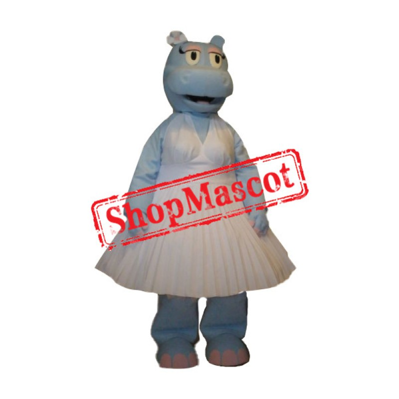 Blue Hippo Girl Mascot Costume