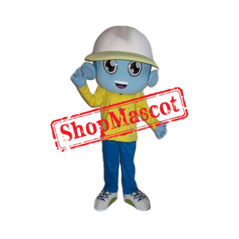 Blue Alien Boy Mascot Costume