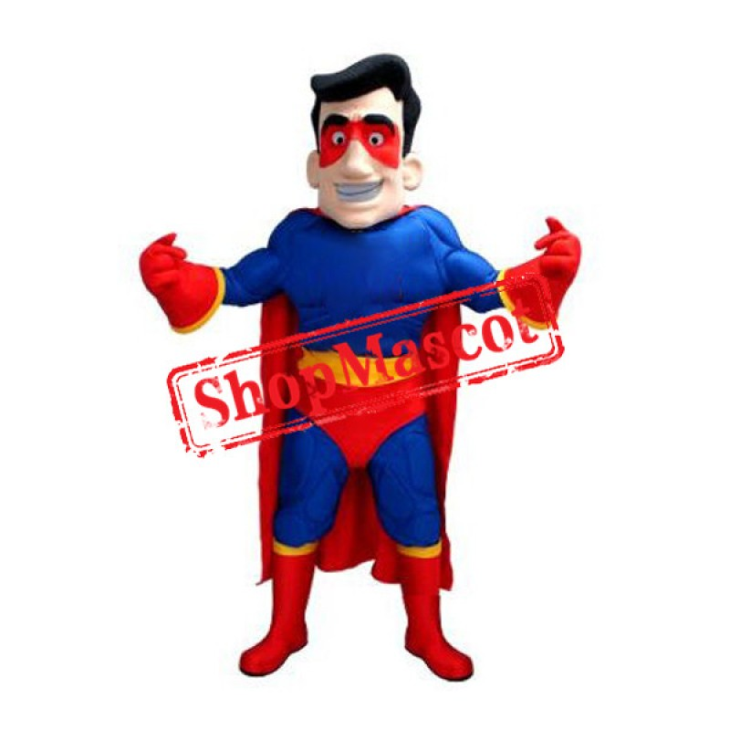 Blue & Red Superhero Mascot Costume