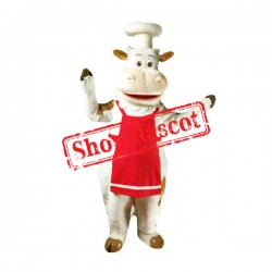 Chef White Cow Mascot Costume