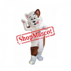 White & Brown Cat Mascot Costume