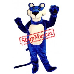 Happy Blue Panther Mascot Costume