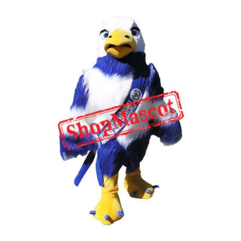 College Blue & White Eagle Mascot Costume
