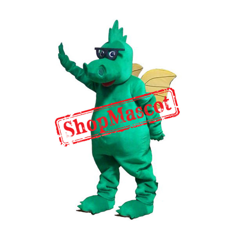 Glasses Green Dragon Mascot Costume