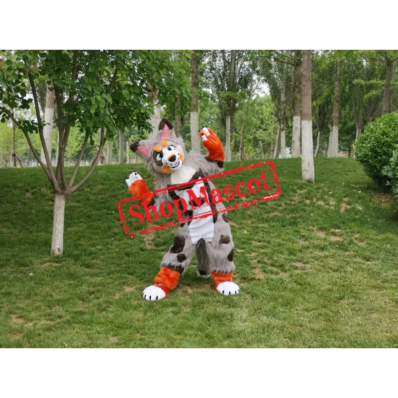 Colorful Husky Dog Wolf Mascot Costume