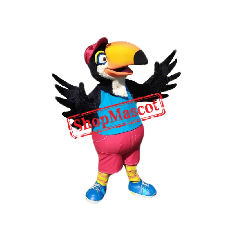 College Black Parrot Mascot Costume