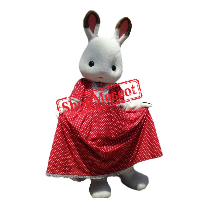 Super Lovely White Bunny Mascot Costume