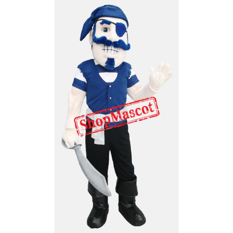 Blue Pirate Man Mascot Costume