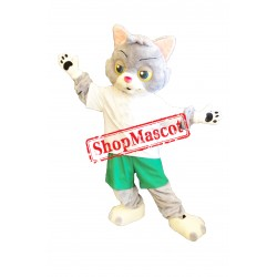 Lovely Grey & White Cat Mascot Costume