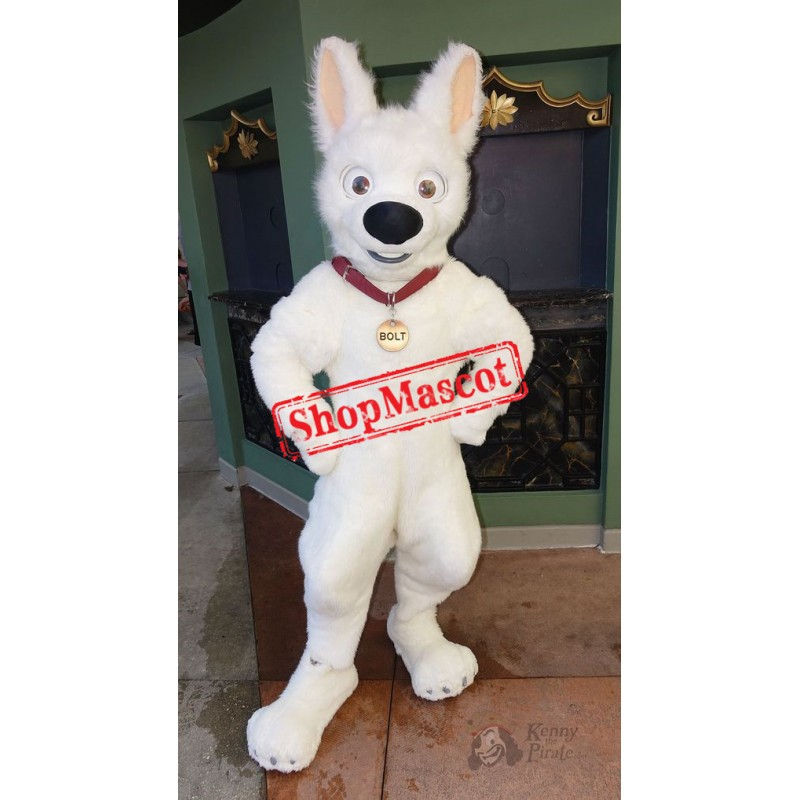 White German Shepherd Dog Bolt Mascot Costume
