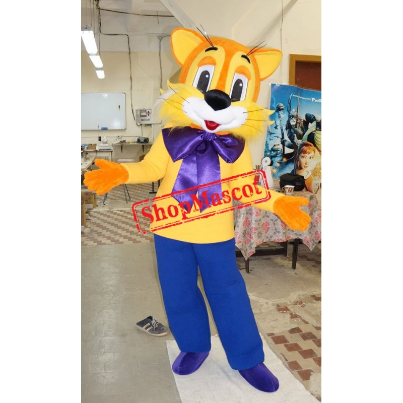 Happy Yellow Cat Mascot Costume