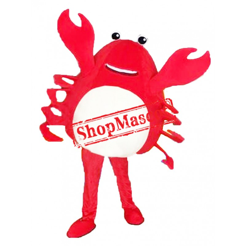 Happy Red Crab Mascot Costume