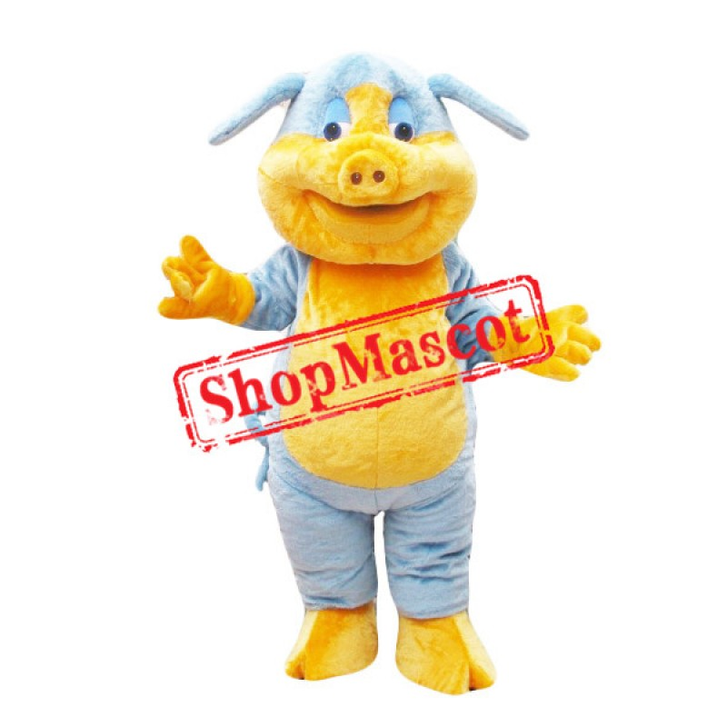Blue & Yellow Pig Mascot Costume