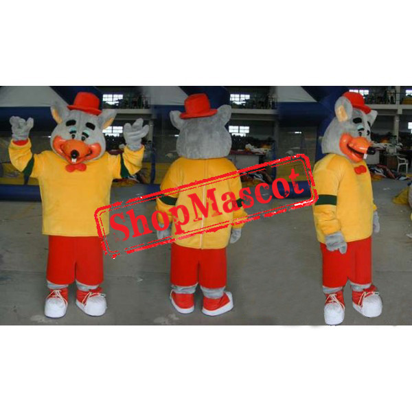 Gray Mouse In Yellow And Red Outfit Mascot Costume