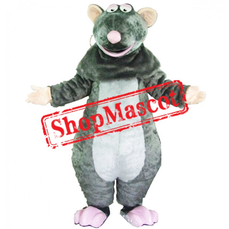 Grey Plush Mouse Mascot Costume