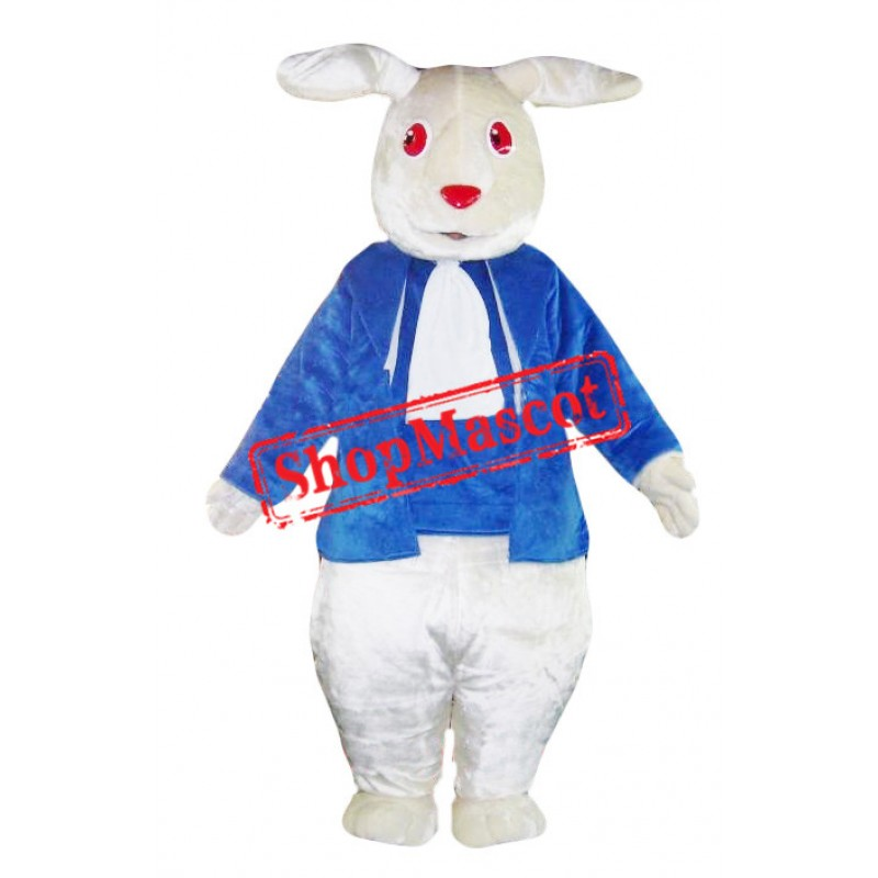 White & Blue Rabbit Mascot Costume