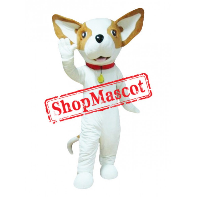 Lovely White & Brown Dog Mascot Costume