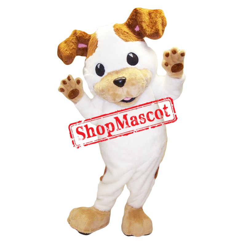 Friendly White & Brown Dog Mascot Costume